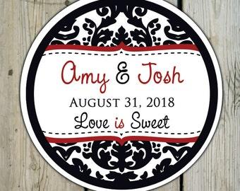 Round Custom Damask Favor Labels / Stickers - Black & White Damask - Personalized Damask Wedding Favor Stickers / Shower Labels / Birthday