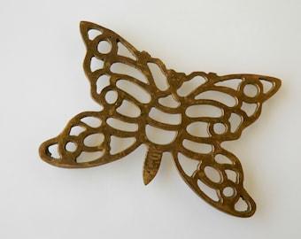 Brass Butterfly Trivet Pot Holder. Table Decor. Home Accent Piece. Vintage Housewares. Rustic Cottage Farmhouse Chic.