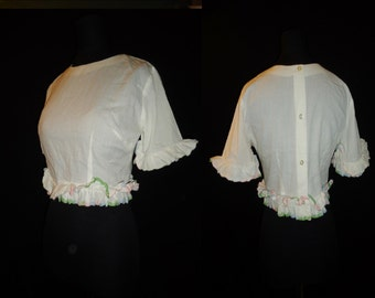RUFFLED White Midriff Vintage 1950's Women's Rockabilly Shirt Top S M