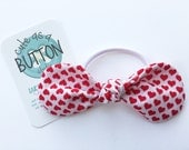 Girls Hair Ties - Toddler Hair Ties - Top Knot Hair Bow - Red Heart Fabric Bow - Fabric Hair Ties - Fabric Bow Hair Ties - Fabric Hair Bow