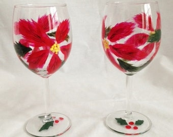 poinsettia wineglass hand painted