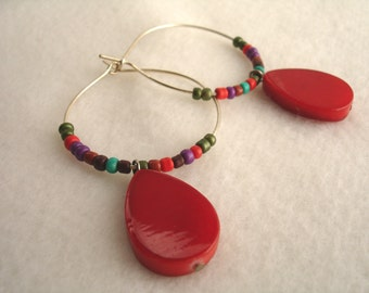 Hoop earrings with red Mother of Pearl beads, MOP jewelry, boho style, tear drop shaped bead