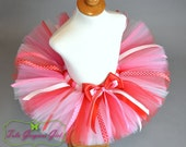 Girls Pink and Red Valentine's Day Tutu...Tutu with Polka Dot Ribbon Streamers...Baby, Toddler, Girls Size Tutu...FOREVER MINE