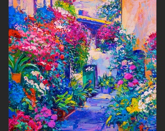 Original Oil Painting on Canvas-Colorful street2 20 x 26'' Landscape Painting Original Art Impressionistic Oil on Canvas by Ivailo Nikolov
