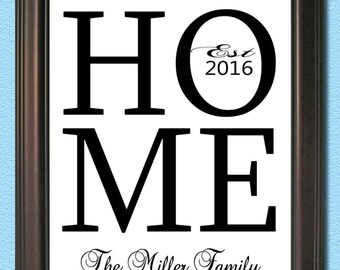 Personalized wedding /  Engagement Gift - Digital JPEG file- Any Size - HOME