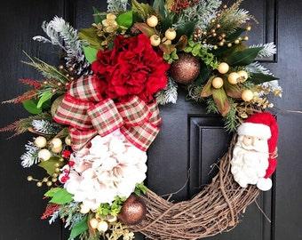 Christmas Wreath for Front Door, Christmas Door Wreaths, Front door wreath, Grapevine Door Wreath, Santa Wreaths