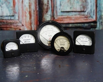 5 Vintage Industrial Meters Bakelite Gauges