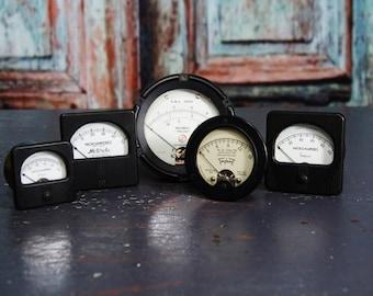 5 Vintage Industrial Meters Bakelite Gauges