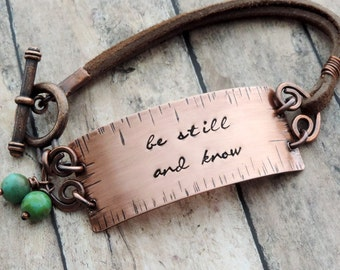 Be Still and Know Christian Bracelet - Stamped Copper and Leather - Bible Verse Bracelet - Christian Jewelry - Scripture Jewelry - Psalm 46