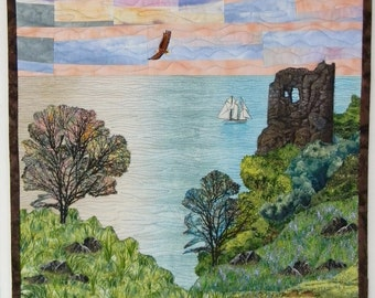 Landscape Quilt with Castle Ruins, Tower, Eagles, Ocean, Sailboat, Trees, Hills & Rocks