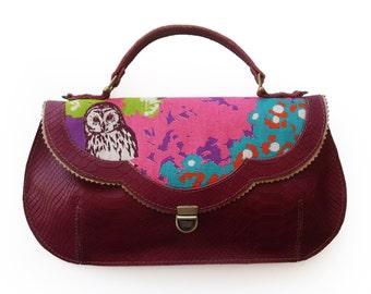 Burgundy owl handbag, Leather woodland purse, Owl print bag, Women's cross body purse