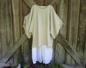 linen contemporary tunic dress caftan in  beach sand beige ready to ship
