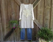 linen tunic dress jumper apron with vintage crochet lace one of a kind ready to ship