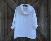 cowl neck blouse top washed linen in white ready to ship