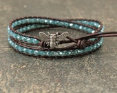 Turquoise Bee Bracelet Leather and Crystal Bee Jewelry