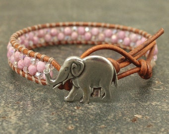 Silver Pink Elephant Bracelet Unique Beaded Leather Elephant Jewelry Single Leather Wrap Bracelet