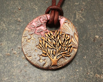 Copper Coral Bronze Olive Green Tree of Life Necklace Unique Bohemian Tree of Life Jewelry Artisan Mixed Media Leather Necklace
