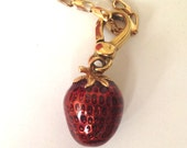 Cute Juicy Couture red enamel strawberry pendant on 10K gold chain bracelet