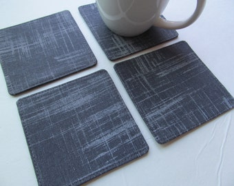 Set Of 4 Fabric Coasters/Gray Fabric