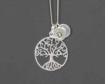Sterling Silver Tree Necklace, Family Tree Necklace, Personalized Necklace, Initials, Tree of Life Necklace, Birthday Gift,Shipping from USA