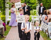 Set of 3 Wedding Signs | Here Comes the Bride! + Hooray! + Hurry Up I Want Cake! Flag Package Ring Bearer Banner Flower Girls Modern Script