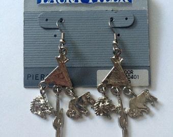 vintage 1980s silver western chandelier earrings