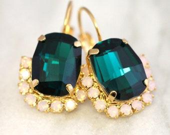 Emerald Earrings, Emerald Drop Earrings, Swarovski Emerald Earrings, Dark green Earrings, Gift for Her, Christmas Gift, Dangle Gold Earrings