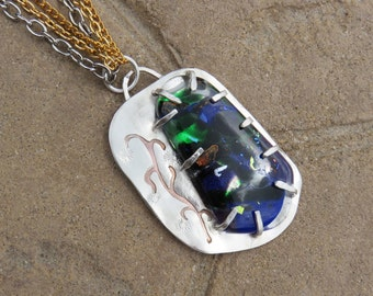 Dichroic Glass Sterling Silver Brass Pendant Necklace, Silversmith Pendant, Silversmith Necklace, Mixed Metal, Metalsmith
