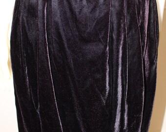 SALE Vintage 1980's Chocolate Brown Velvet Midi Skirt  M