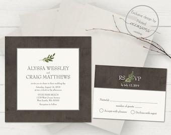 Greenery Wedding Invitations Industrial Wedding Invitation Set Square  Invitation RSVP Greenery Wedding Printable Rustic Wedding Template