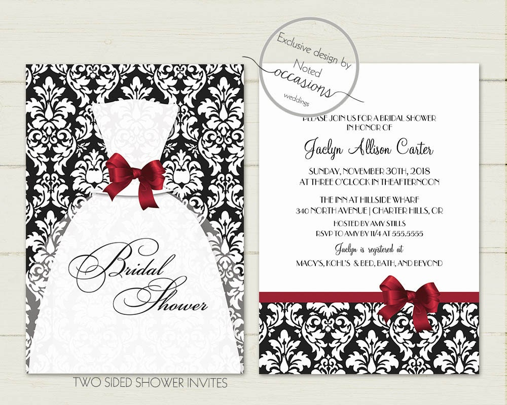 Damask bridal shower invitations with wedding dress gown for Wedding dress bridal shower invitations