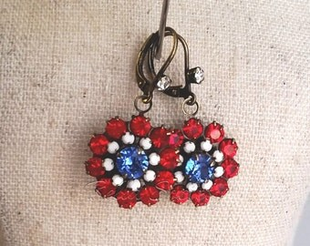 Patriotic earrings, 4th of July,  red white & blue, USA