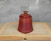 """Antique Treen Box with Lid Red Paint Turned Wood Handmade 2 3/4"""" Full Height Treenware Small Item Storage Desk Accessory Office Home Decor"""