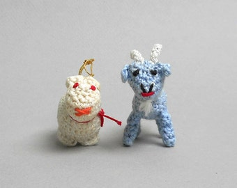 Amigurumi Goat and Rabbit Two Vintage Handmade Crochet Miniature Animals Home Decor Ornaments Collectible Dolls