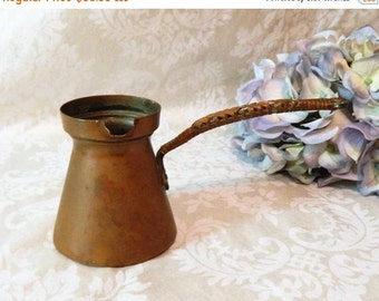 LABOR DAY SALE Antique Solid Copper French Coffee Pot Marked ~Lc Fouled Anchor~ French Naval Medical Service