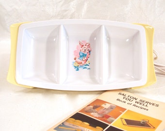 Salton Heat n Eat, Heat and Eat Baby Dish, Baby Food Divided Warmer, Model BD-2, 1960s Baby Plate