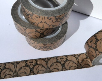 Damask Washi Tape - Black and Gold Paper Tape Great for Scrapbooking Paper Crafts and Holiday Decorations Elegant 1 roll 15mm x 10m