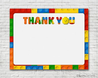 Lego Blocks Thank You Card - Instant Download