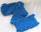 CLEARANCE Bright Blue Ruffled Edge Scarf - Lacey , Ruffle