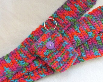 Scarf and Keychain Gift Set - Multicolored Crocheted Long Skinny Scarf and Matching Keychain - 20165001
