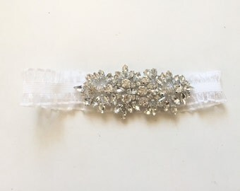 MIA - Ivory white heirloom garter with Czech crystals, rhinestone garter, dainty ivory organza rhinestone garter - ready to ship