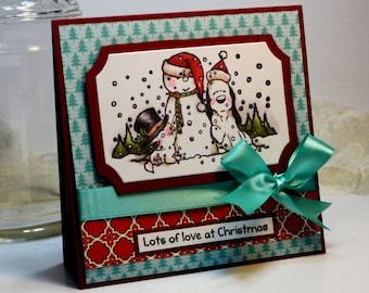 "Handmade Christmas Card Greeting Card 3D 5.25 x 5.25"" Lots of Love at Christmas Pets Dog Cat Snowman Holiday Season Stationery Paper OOAK"