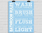 Bathroom Rules Wall Art, Wash Your Hands, Brush Your Teeth, Remember to Flush, Turn Off the Light Custom Wall Print, Bathroom Wall Print