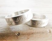 wedding ring wedding band engraved with names or message sterling silver jewelry wedding ring silver ring plain band message ring