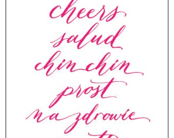 Cheers in six languages - Greeting Card