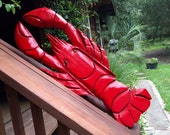 """Lobster 32"""" chainsaw wood carving coastal home beach decor wall mount ground sculpture nautical accent New England decoration seashore art"""