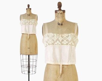 Vintage 20s CAMISOLE Top / 1920s IPalest Peach Silk & Ivory Lace Trim Cami Bra Lingerie Blouse M