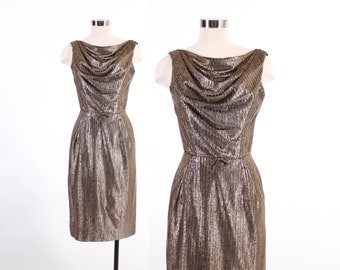 Vintage 60s DRESS / 1960s Gold & Black Draped Neckline Metallic LUREX Cocktail Dress XS