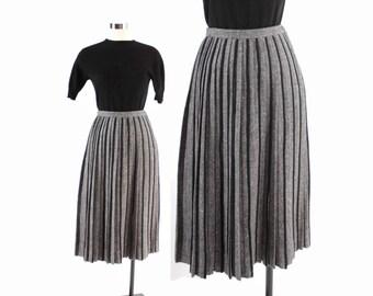 Vintage 50s SKIRT / 1950s Dark Gray & Yellow Wool Pleated Full Circle Skirt S
