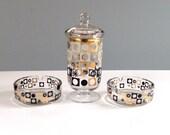 Vintage Mod Design Cigarette Jar and Ashtray Set, Mid Century Modern Design